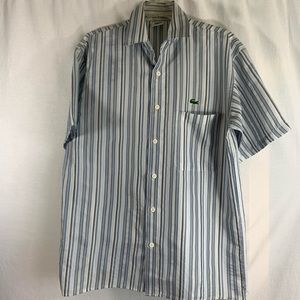 Gray and blue striped Lacoste Short Sleeve Size 6